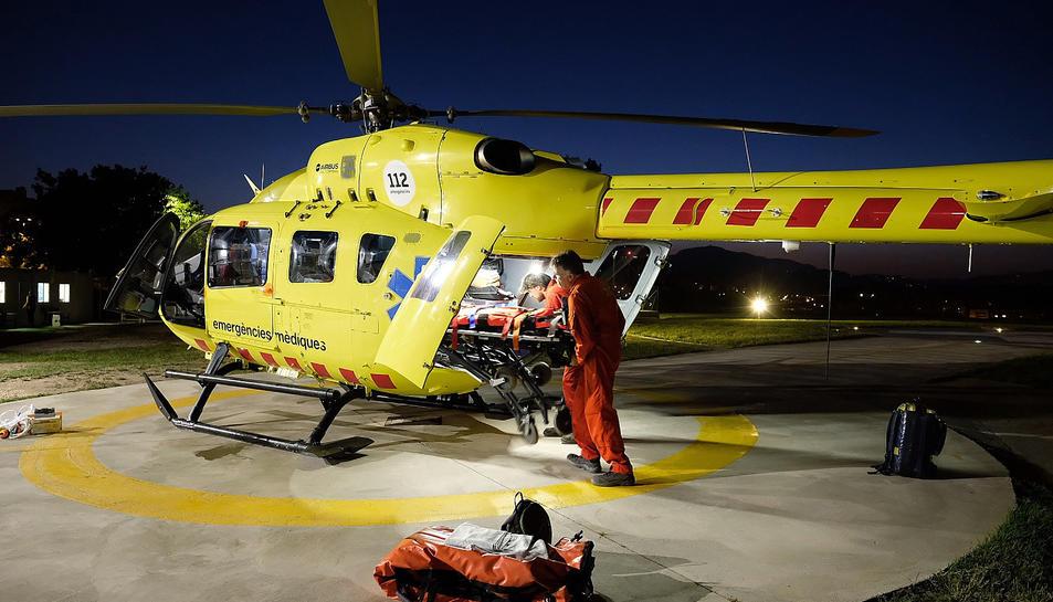L'helicòpter nocturn medicalitzat del SEM.