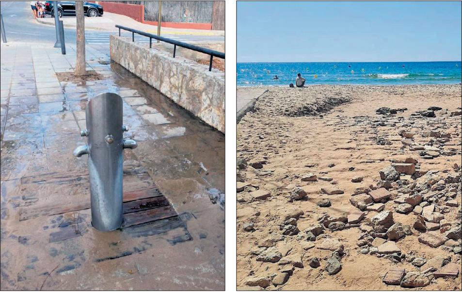 A l'esquerra la dutxa on els banyistes es renten els peus en tornar de la platja. A la dreta, l'accés a la Llarga de Cala Romana.