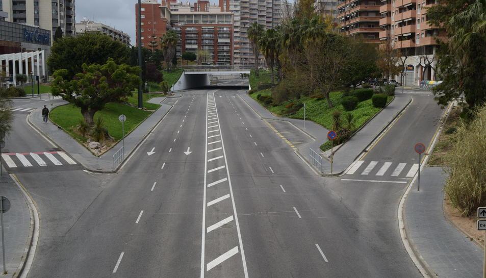 Avinguda Vidal i Barraquer el passat 23 de març en ple confinament a la ciutat de Tarragona