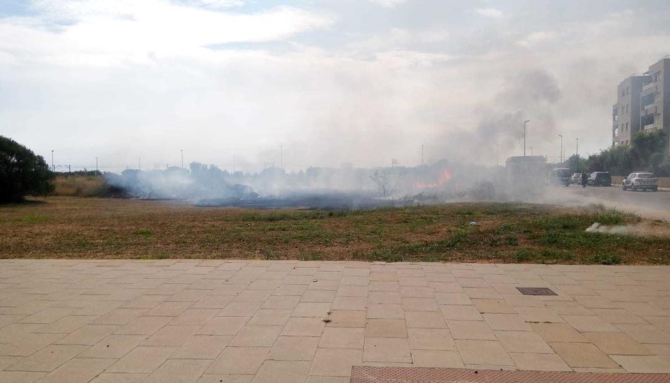 El foc s'ha produït en un solar del carrer Comte de Santa Coloma.