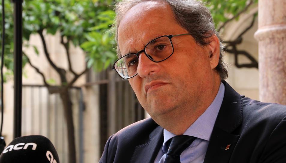El cap del Govern, Quim Torra, entrevistat per l'ACN al Palau de la Generalitat.