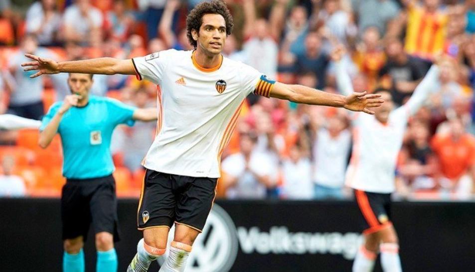 Quim Araujo, amb la samarreta del Valencia Mestalla, club amb el qual va jugar durant una temporada i mitja.