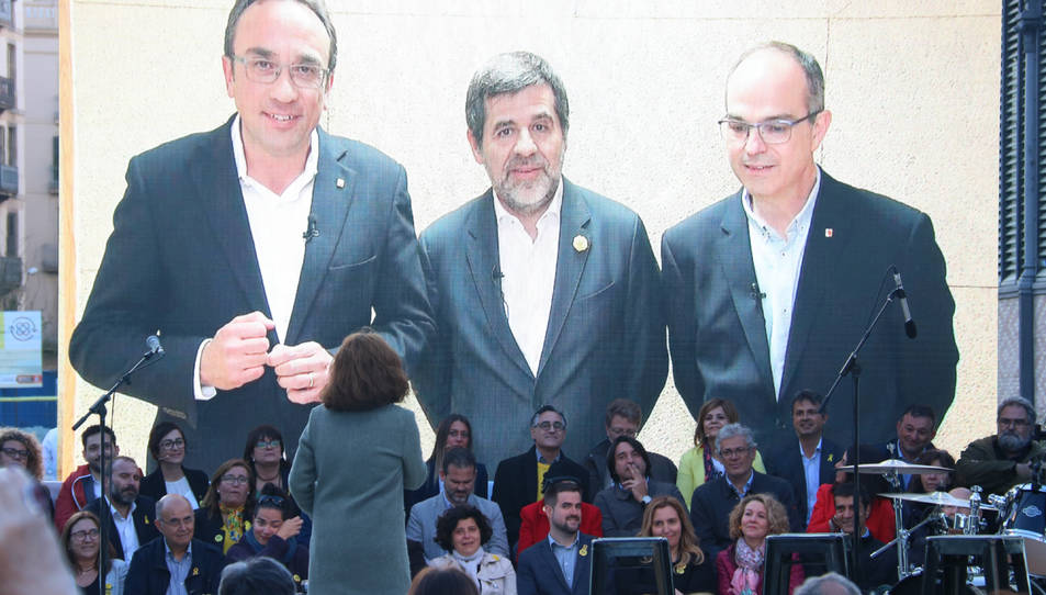Els candidats de JxCat Josep Rull, Jordi Sànchez i Jordi Turull, en videoconferència