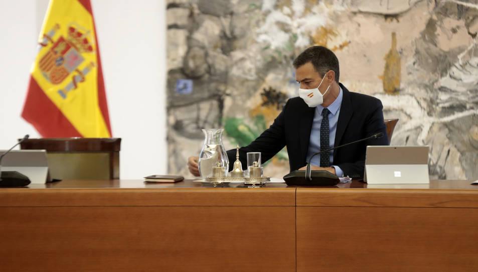 El president del govern espanyol, Pedro Sánchez, a la reunió del Consell de Ministres al Palau de la Moncloa.