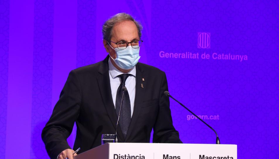 El president de la Generalitat, Quim Torra, en roda de premsa després de la reunió del Consell Executiu