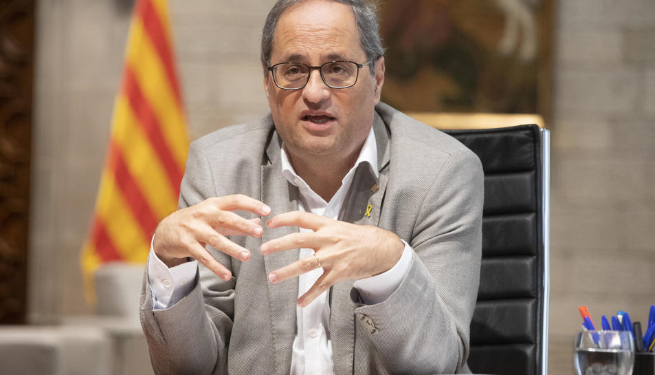 El president del Govern, Quim Torra, reunit telemàticament amb Pedro Sánchez i els presidents autonòmics, des de Palau el 4 de setembre de 2020