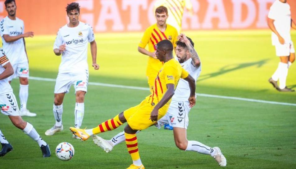 Imatge del partit entre el Barça i el Nàstic de Tarragona
