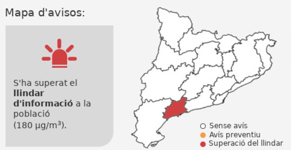 Protecció Civil ha informat sobre el nivell d'ozó mesurat a Reus.