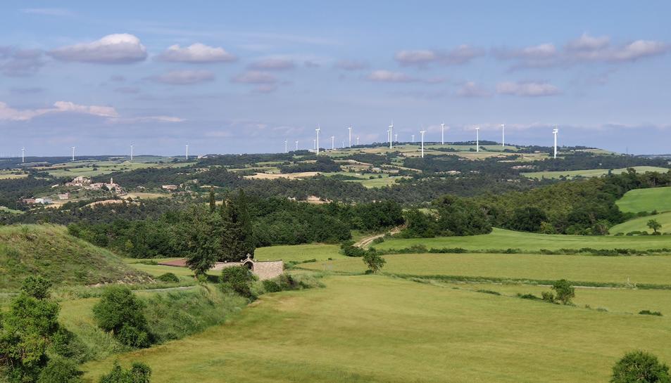 Vista general d'un parc eòlic al nord de la Conca de Barberà