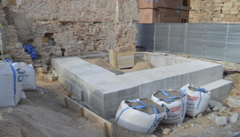 Cimentació de la torre que s'està construint a Montblanc.