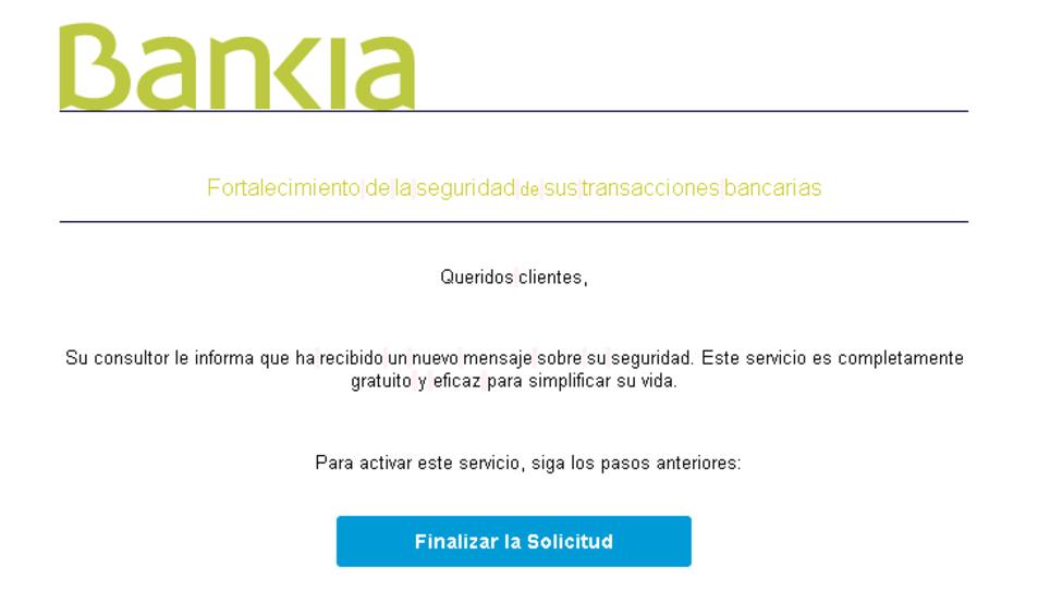 Imatge del correu fraudulent que suplanta a Bankia.
