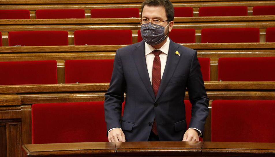 El vicepresident amb funcions de president, Pere Aragonès, al ple sobre la inhabilitació de Torra.
