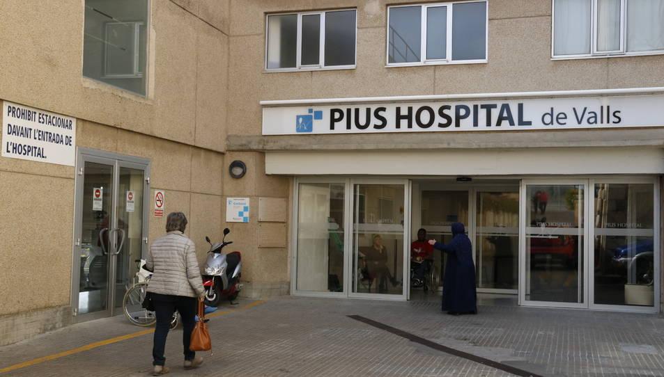Pla general de l'entrada principal al Pius Hospital de Valls. I