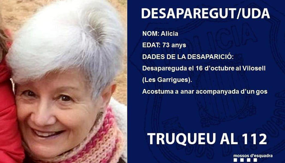 Es tracta de la mare de Jaume Collboni i ha estat localitzada amb lleu hipotèrmia al sud del nucli urbà
