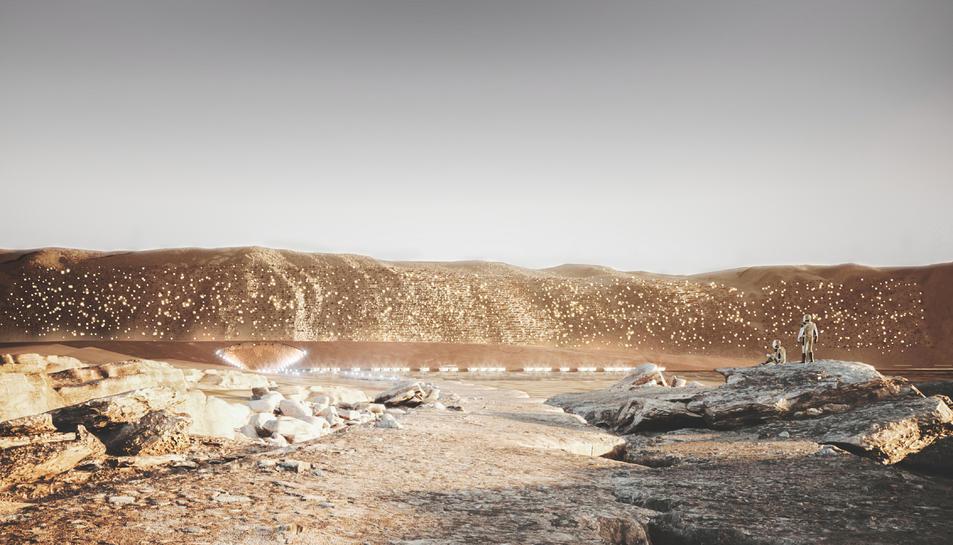 Pla general de la recreació de com seria la ciutat NÜWA, a Mart.