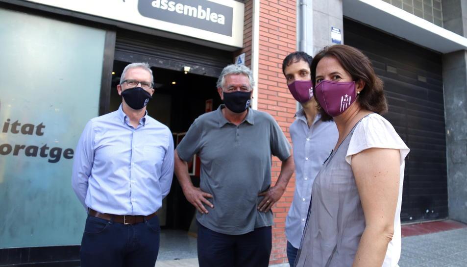 Pla mitjà dels dirigents de l'ANC Elisenda Paluzie, David Fernández, Adrià Alsina i Jordi Ollé