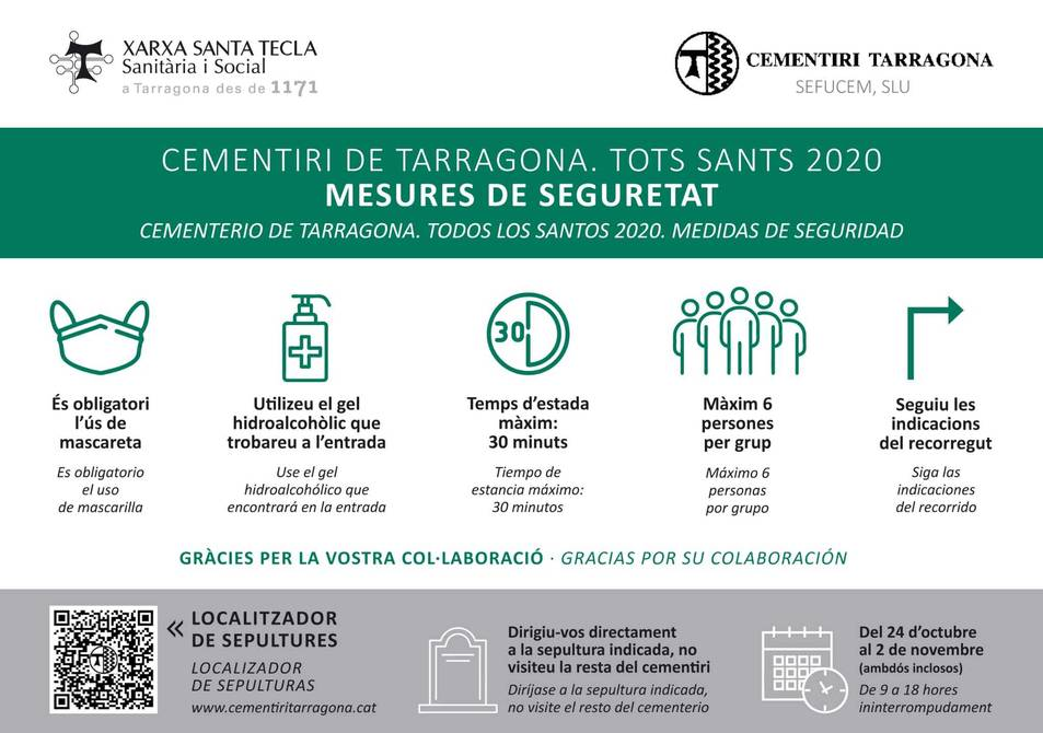 Aforament reduït i control d'accés al cementiri de Tarragona per Tots Sants