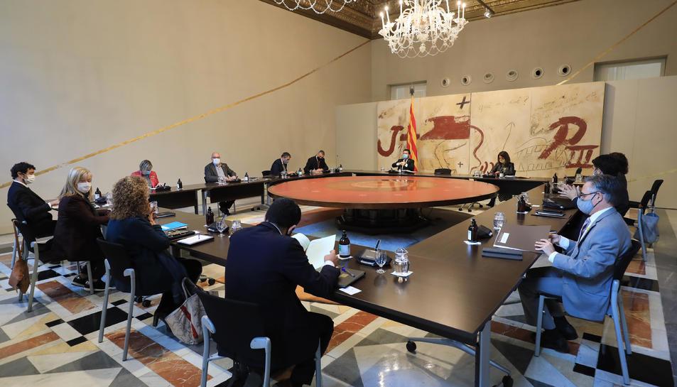 Pla general d'un moment de la reunió del Consell Executiu de dimarts 20 d'octubre de 2020.