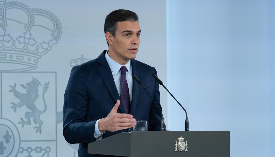 El president del govern espanyol, Pedro Sánchez, durant la declaració institucional sobre la situació del coronavirus al Palau de la Moncloa