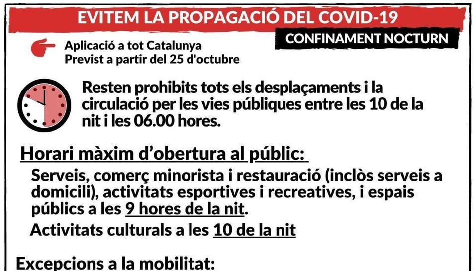 El toc de queda a Catalunya serà finalment entre les 22 i les 6 hores