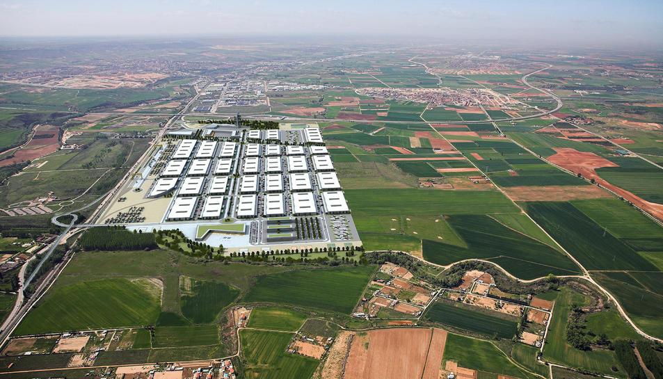 Imatge aèria simulada de la nova estació intermodal Guadalajara.