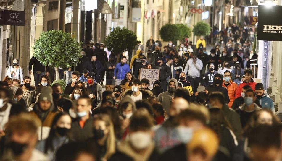 Un instant de la protesta, al centre de Reus.