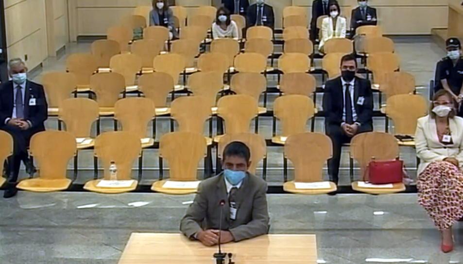 El major dels Mossos d'Esquadra, Josep Lluís Trapero, durant l'últim torn de paraula al judici de l'Audiència Nacional.
