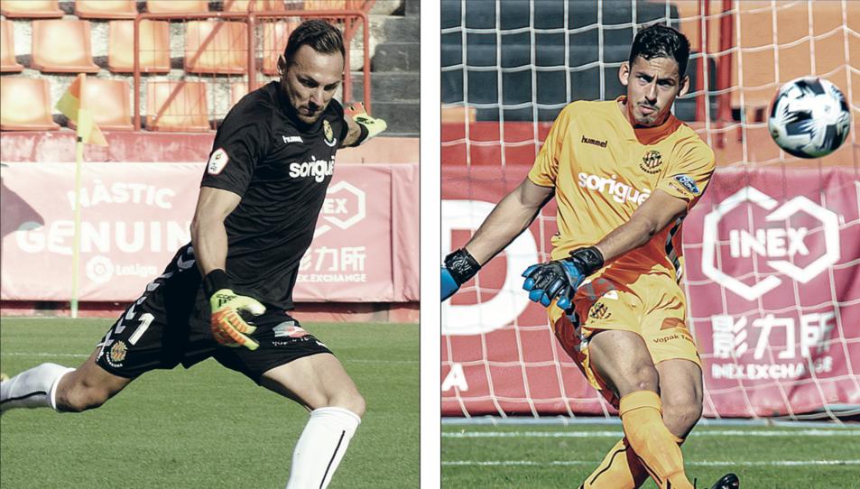 A l'esquerra, Wilfred, durant un partit d'aquesta temporada i, a la dreta, Gonzi, també en una acció amb la samarreta del Nàstic.