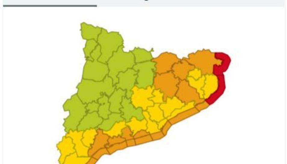 Mapa d'avisos de la passada matinada arreu de Catalunya