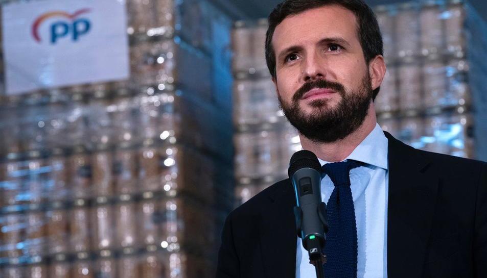 El president del PP, Pablo Casado, al Banc dels Aliments de Reus el 27 de novembre de 2020