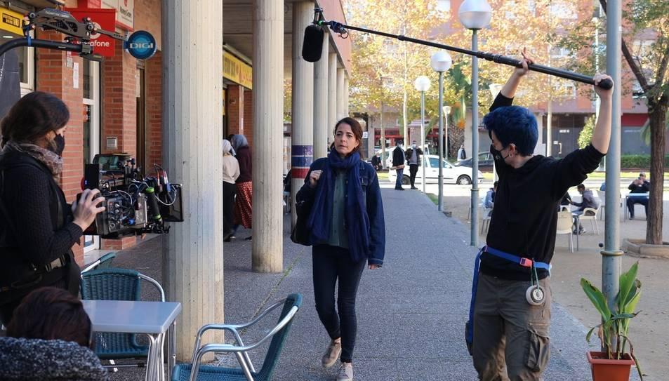 Un moment del rodatge de 'Sinjar' d'Anna Maria Bofarull a Tarragona.