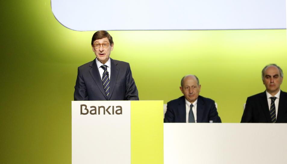 Imatge general de la intervenció del president de Bankia, José Ignacio Goirigolzarri, a la junta general d'accionistes.