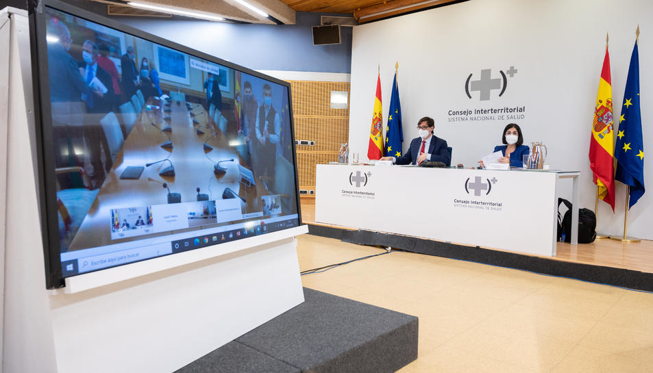Una pantalla mostra els preparatius del Consell Interterritorial de Salut.