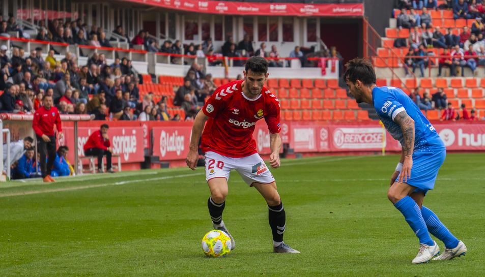 Carlos Albarrán, durant el Nàstic-Lleida Esportiu de la passada temporada.
