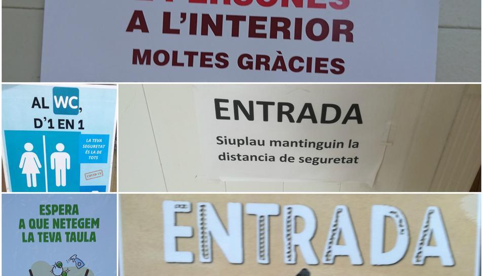 Models de cartells que porposa el CNL per a normalitzar lingüísticament els establiments.