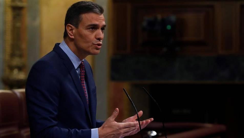 El president Pedro Sánchez a l'inici de la seva compareixença aquest dimecres per a informar de la situació en què es troba Espanya en aquest moment de la pandèmia.