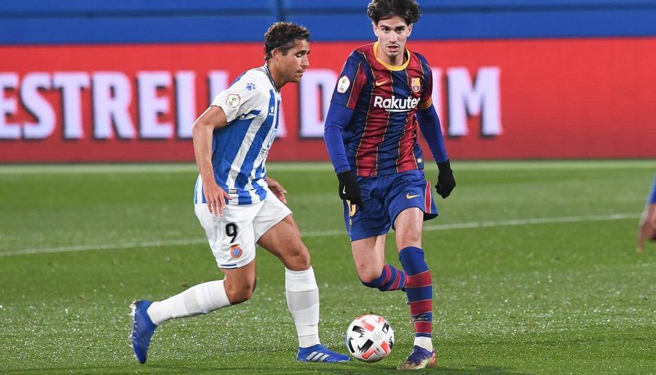 Un moment del Barça B-Espanyol B (2-1) de la passada jornada.