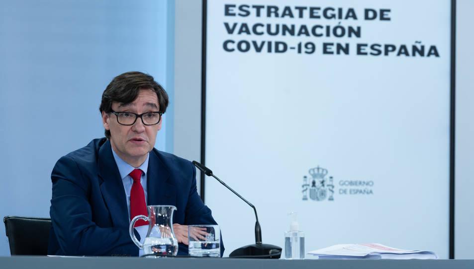 El ministre de Sanitat, Salvador Illa, en una roda de premsa a Moncloa.