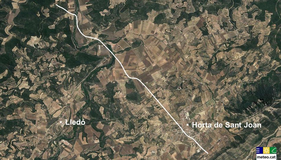 Recreació del SMC sobre la trajectòria de 5,9 quilòmetres del tornado de l'11 de desembre.
