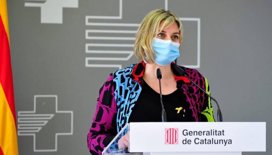 La consellera de Salut, Alba Vergés, durant la presentació de l'ampliació de l'Hospital Verge de la Cinta de Tortosa.