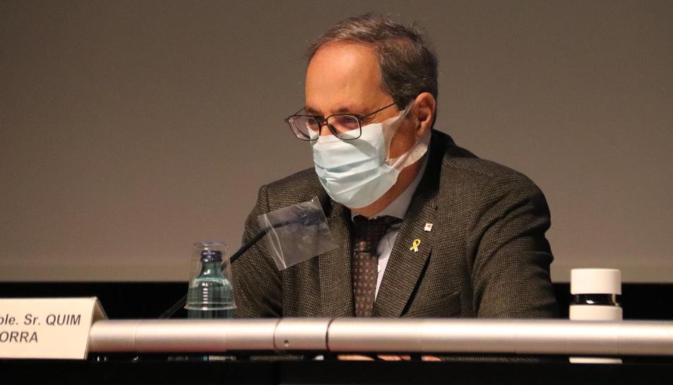 Pla tancat de l'expresident de la Generalitat, Quim Torra, durant la seva intervenció en la conferència sobre la covid-19 el 17 de desembre de 2020.