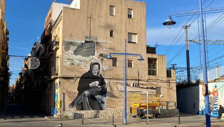 Imatge del mur pintat al Serrallo.