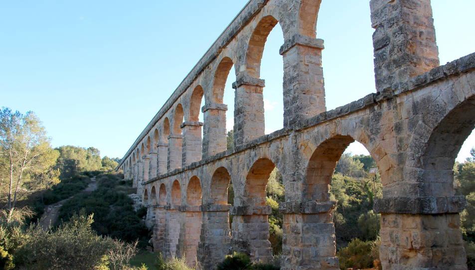 Pla general de l'aqüeducte de les Ferreres de Tarragona, conegut com a Pont del Diable.