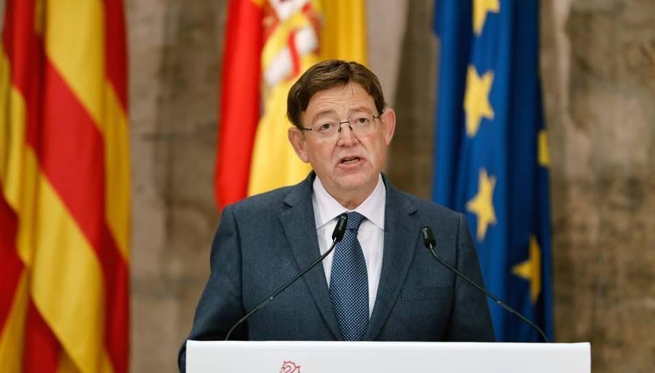 El presidente de la Generalitat, Ximo Puig, durante la rueda de prensa que ha ofrecido hoy.