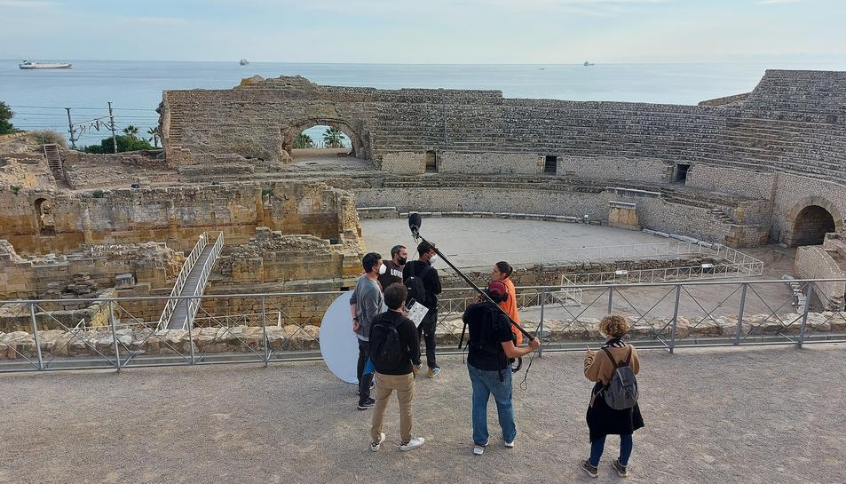 Rodatge del primer capítol de 'Batalla monumental' a l'Amfiteatre de Tarragona.