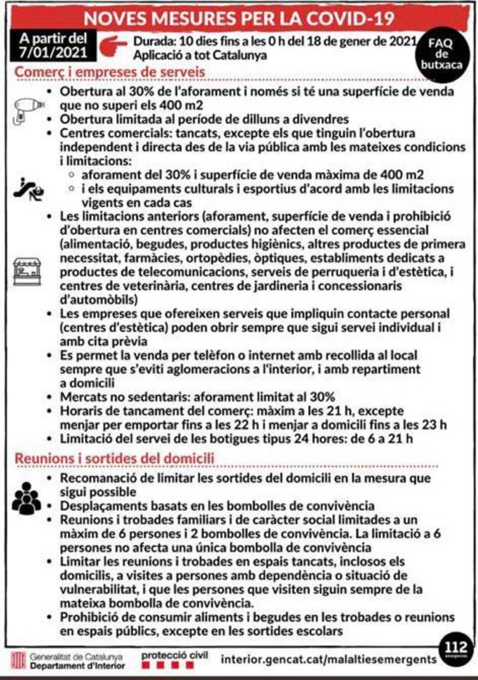 Noves restriccions a partir del 7 de gener.