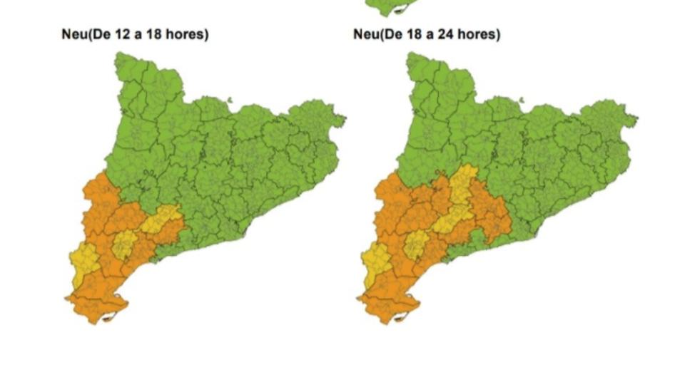 El Meteocat preveu nevades a la meitat sud de Catalunya aquest dijous.