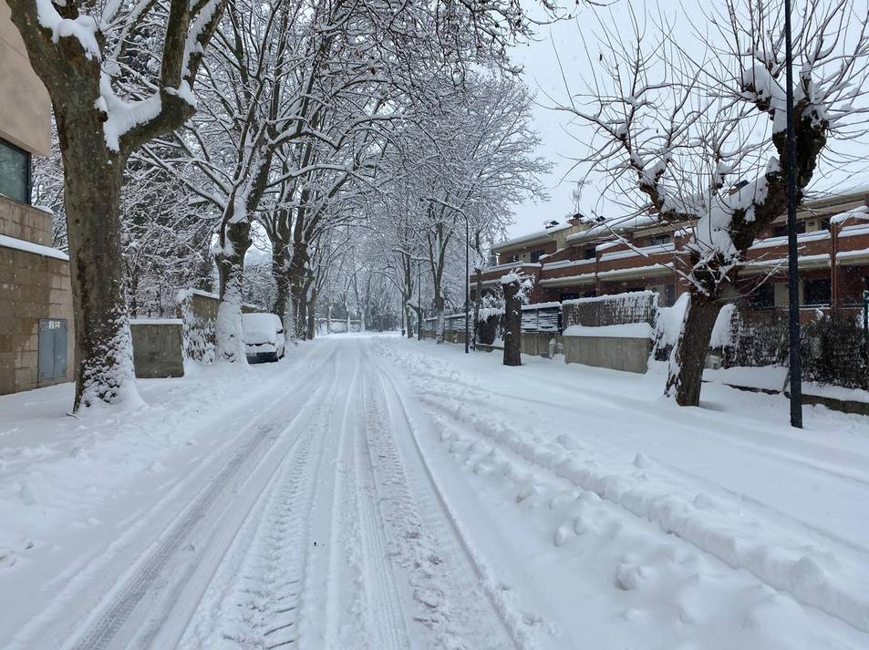 Imatges de la capital del Priorat coberta de neu, el 9 de gener de 2021