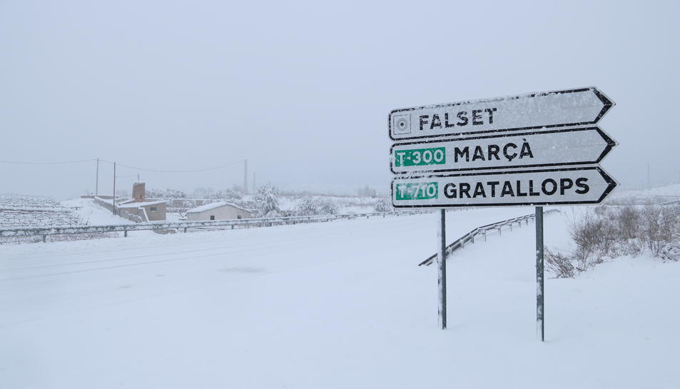 Imatge de la carretera d'accés a Falset completament coberta per la neu.