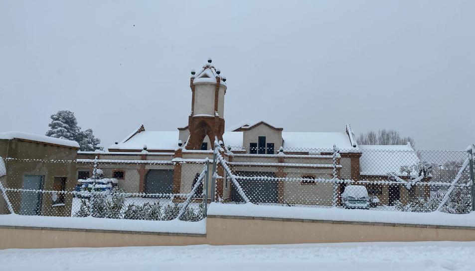 Imatge de la neu acumulada a Falset